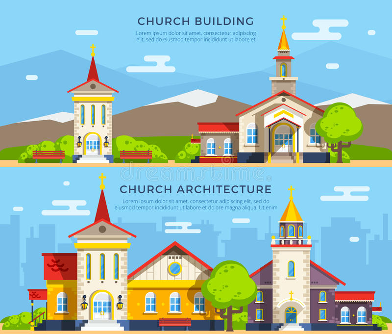 Church Flat Banners. Beautiful historic church buildings of different architecture styles on backgrounds with mountains and cityscape flat banners vector royalty free illustration