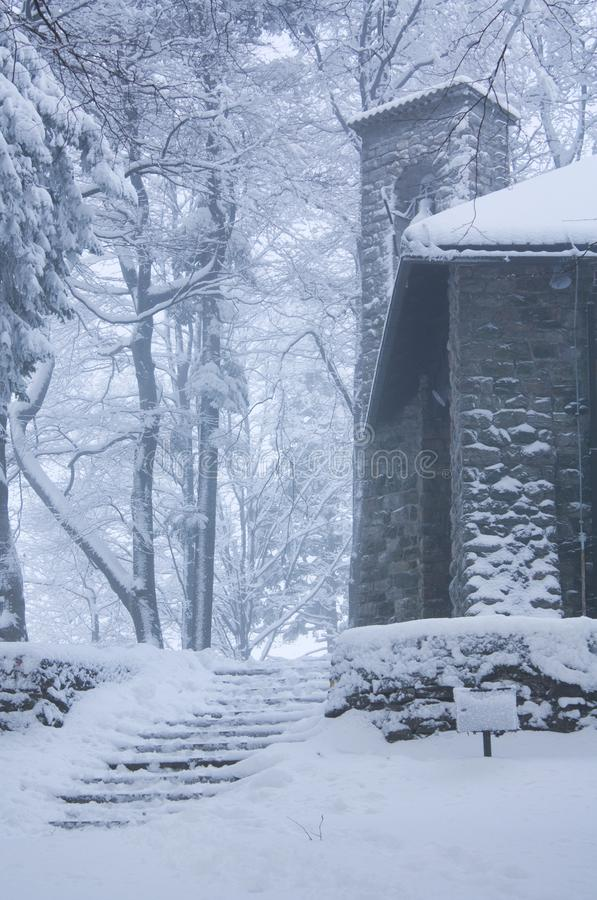 Church in foggy winter stock image