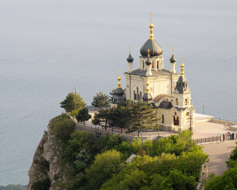 Church in Foros. Crimea. Church in Форосе on a coast of the black sea royalty free stock photo
