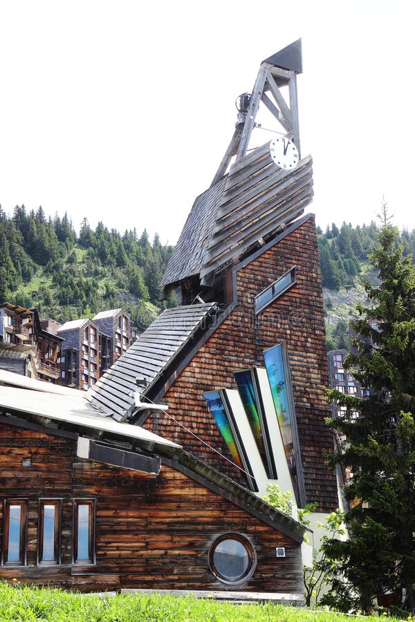 Church in french Avoriaz royalty free stock image