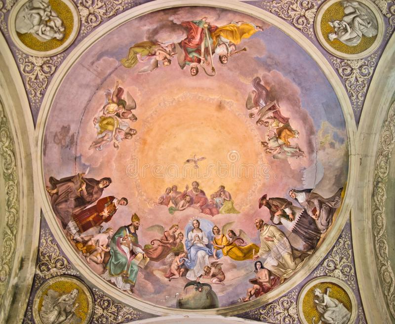 Church fresco with madonna, god and holy spirit stock images