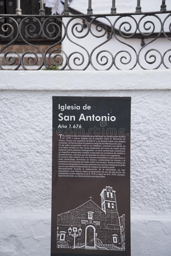 Church in Frigiliana an old Moorish village above Nerja on the Costa del Sol in Southern Spain. Frigiliana one of the most beautiful white villages of the stock photography