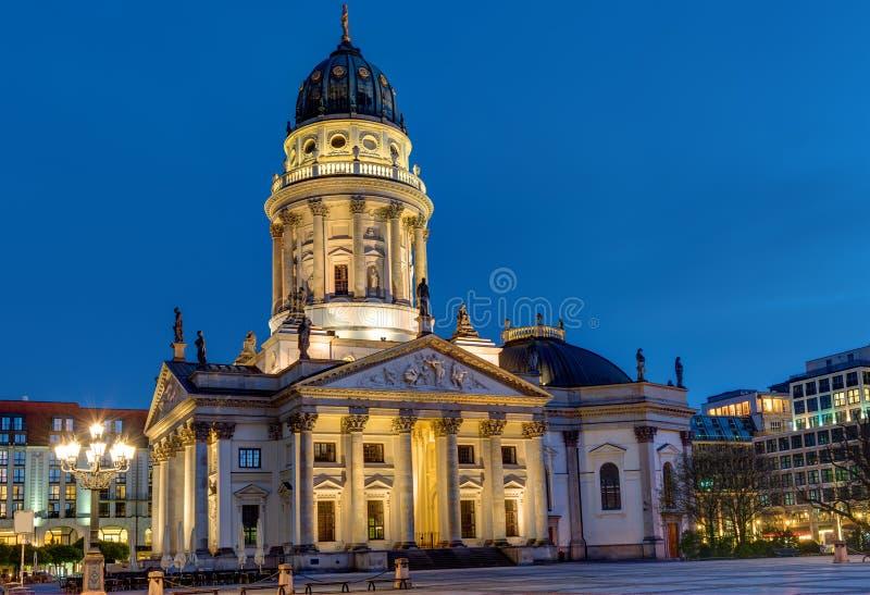 Church at the Gendarmenmarkt in Berlin. One of the two churches at the Gendarmenmarkt in Berlin at night royalty free stock photo