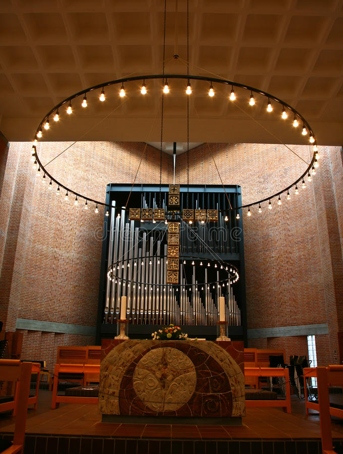 Church in Gentofte. Organ in a Church in Gentofte royalty free stock photos