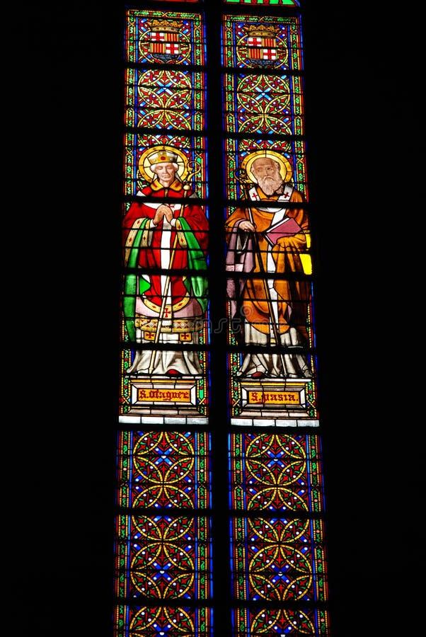 Church glass Barcelona royalty free stock photo