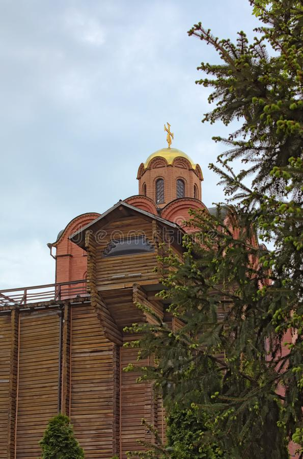Church with golden dome on the top of the Golden Gate. It was the main gate in ancient Kyiv, the capital of Kievan Rus` royalty free stock photography