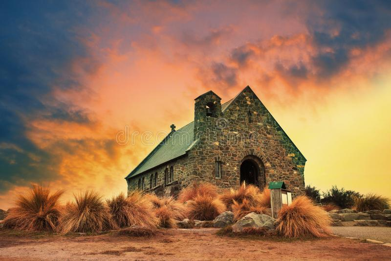Church of good shepherd important landmark and traveling destin. Ation near lake tekapo south island new zealand royalty free stock photo
