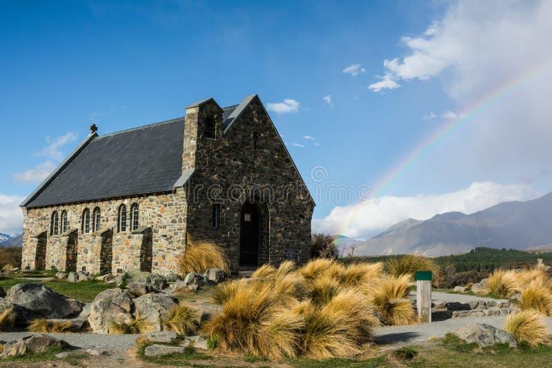 Church of the Good Shepherd with rainbow, Lake Tekapo, New Zealand royalty free stock photography
