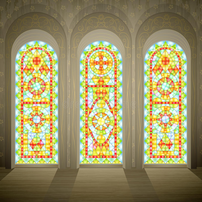 Free Church Gothic Stained Glass Windows Stock Photos - 15195603
