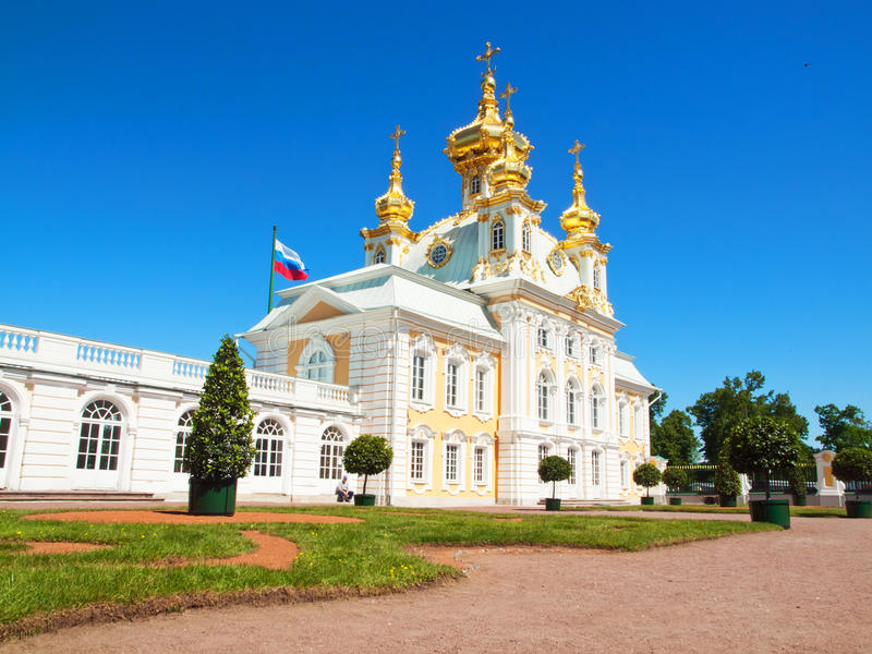 Church of grand palace in Peterhof, Russia stock photo