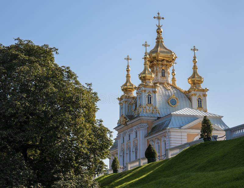 Church of Grand palace in Peterhof. St.Petersburg, Russia royalty free stock photo