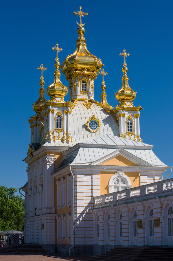 Church at Grand Peterhof Palace, Saint Petersburg, Russia stock photos