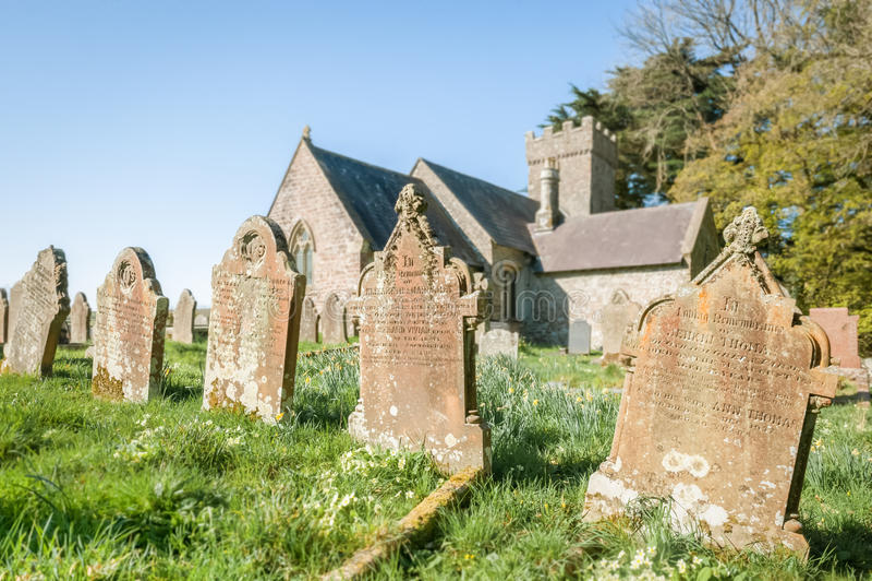 Church graveyard headstones royalty free stock photo