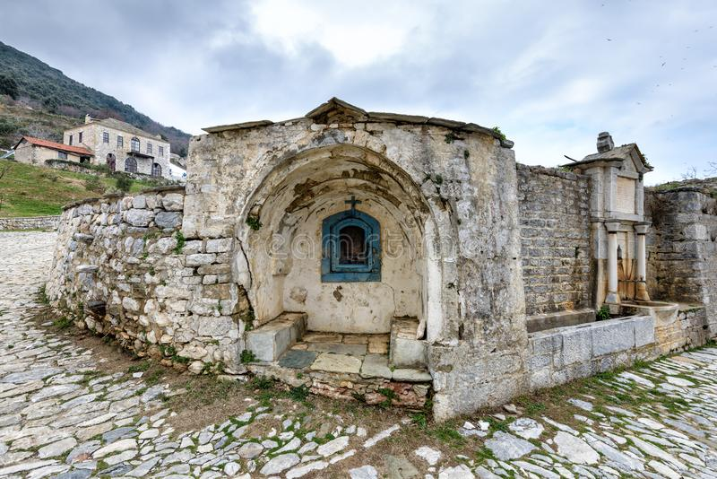 Church in the Great Lavra Orthodox monastery at Mount Athos, Agion Oros Holy Mountain, Chalkidiki, Greece. Church in the Great Lavra Orthodox monastery at Mount royalty free stock images