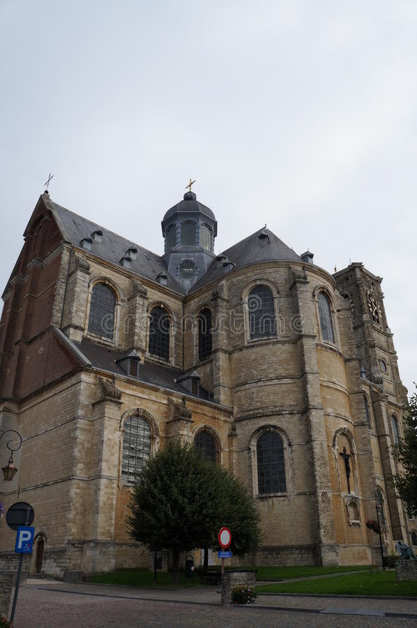 The church of Grimbergen Abbey, Belgium. The church of Grimbergen Abbey, the belltower, Belgium, rainy day royalty free stock images