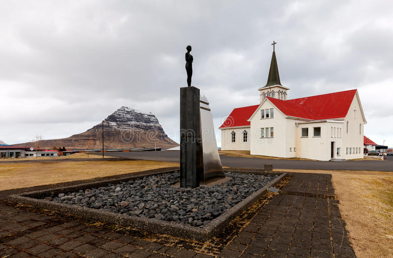 Church in Grundarfjordur, Iceland stock image