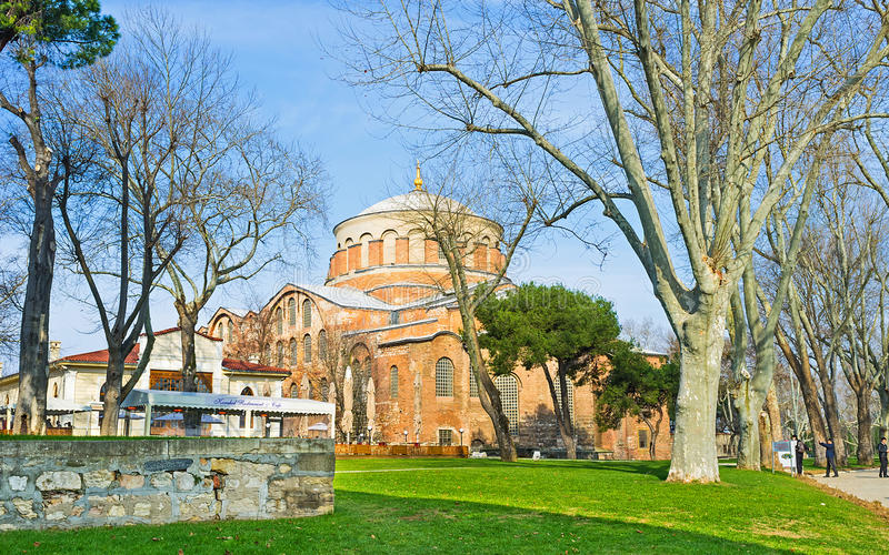 The Church of Hagia Irene. The Hagia Irene Museum located in building of the medieval Eastern Orthodox Church in courtyard of Topkapi Palace, Istanbul, Turkey stock photos
