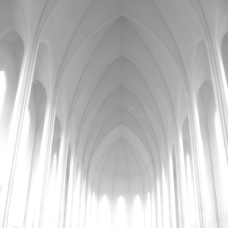 Church Hallgrimskirkja Reykjavik, architecture inside stock photography