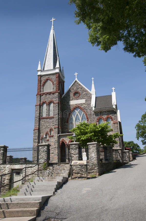 Church at at Harpers Ferry in Virginia USA. The town of Harpers Ferry in Virginia USA at the confluence of the Shenandoah and Potomac Rivers stock images