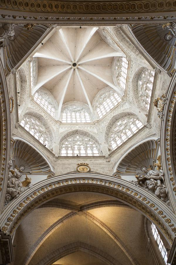Valencia Cathedral interior. The church has different architectural styles - roman, gothic and baroque - which make in the main historical landmark of the city stock photos