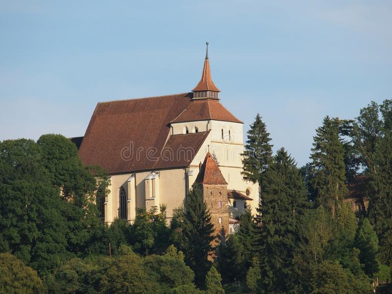 The Church on the Hill Biserica din Deal in the medieval fortress of Sighisoara, Romania stock photography