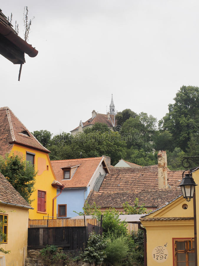 The church on the hill biserica din deal in Sighisoara citadel. The church on the hill biserica din deal as seen from the lower side of the Sighisoara citadel royalty free stock photos