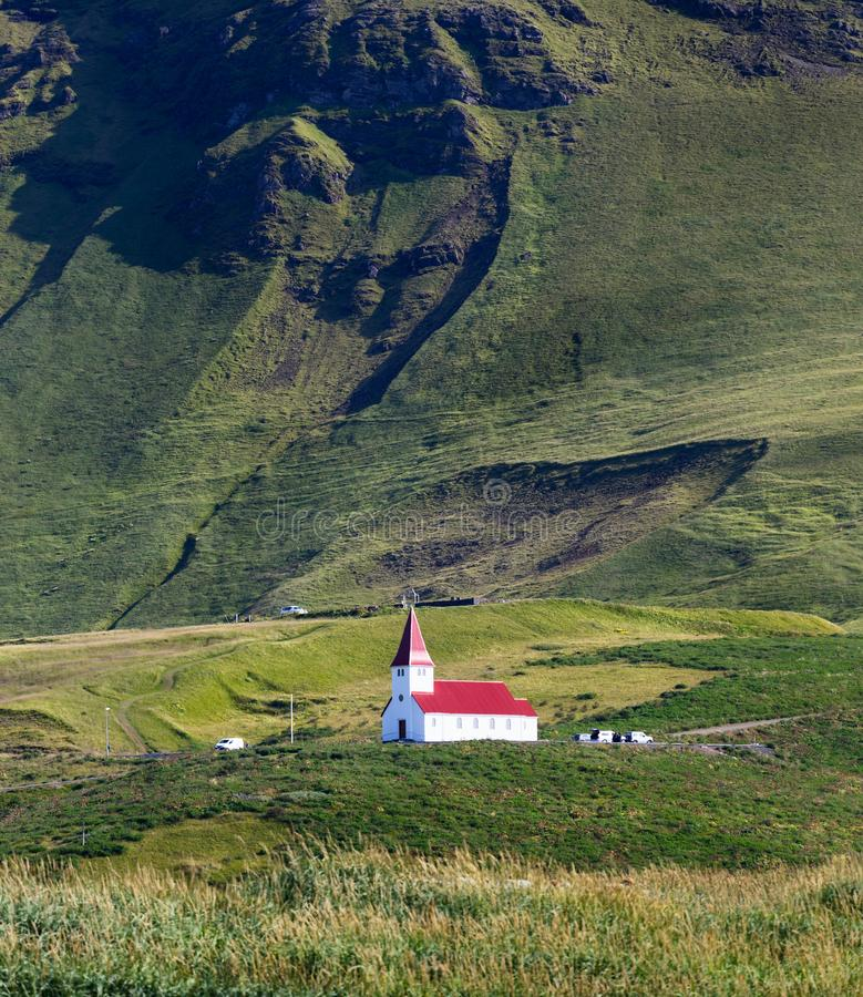 Church on a hill in Vik, Iceland royalty free stock images