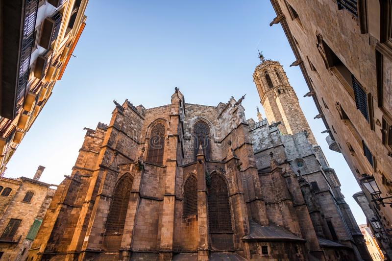 Church in historic barcelona town center spain. A church in historic barcelona town center spain stock images