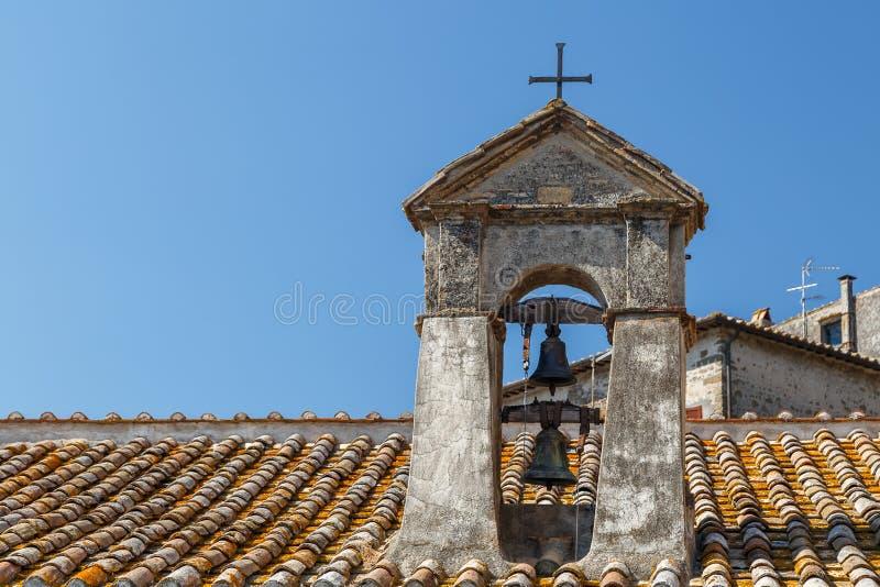 Church in the historic centre of Anguillara Sabazia town. Italy stock photo