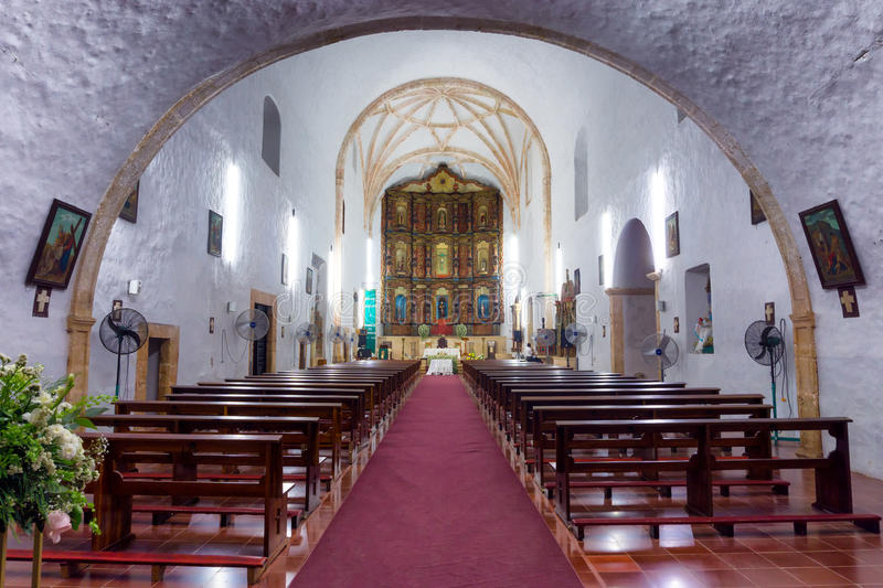 Church of historic Monastery. Of San Bernardino in Valladolid, Mexico royalty free stock images