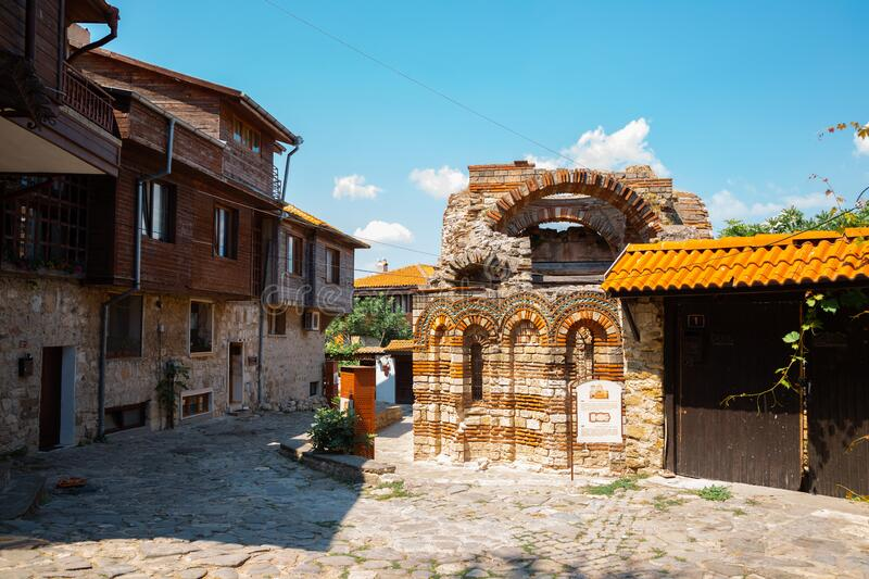 Church of the Holy Archangels Michael and Gabriel Ruins in Nessebar, Bulgaria royalty free stock photo