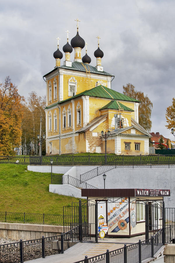 Church of Holy Martyrs Florus and Laurus on river bank, Uglich, Russia royalty free stock image