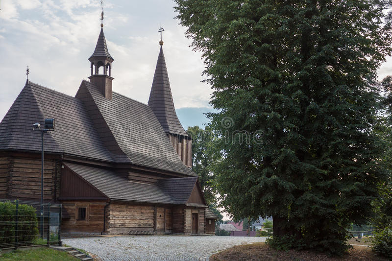 Church of the Holy. Michael the Archangel in Zernica. The Roman Catholic church oriented timbered. Tower of pole construction.The monument of wooden architecture royalty free stock photo