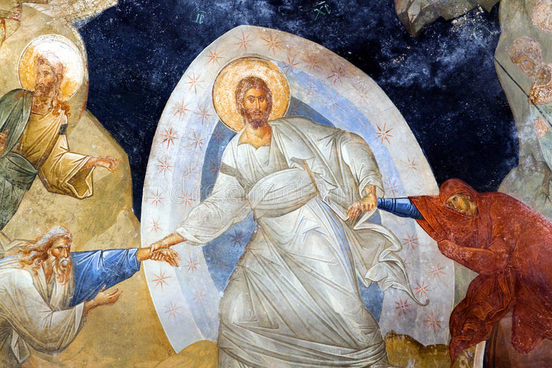 Church of the Holy Saviour in Chora in Istanbul,Turkey. The Anastasis painted fresco in the parecclesion of the Church of the Holy Saviour in Chora (Kariye royalty free stock photo