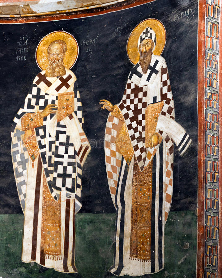 Church of the Holy Saviour in Chora in Istanbul, Turkey. Bishop figures on the apse wall - Saint Gregory the Theologian, and Saint Cyril of Alexandria next to stock image
