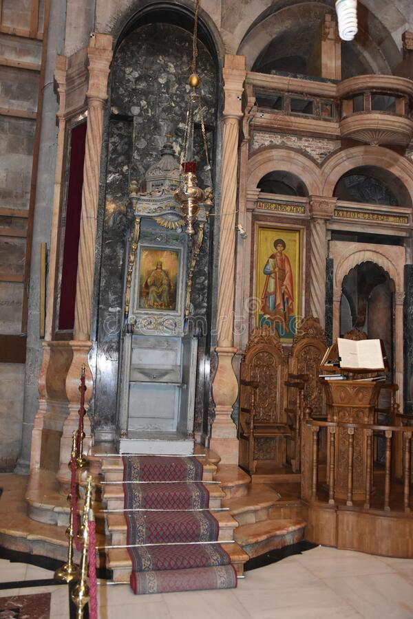Church of the Holy sepulcher in Jerusalem , Israel. Details from the church of the Holy sepulcher in Jerusalem, Israel stock photo