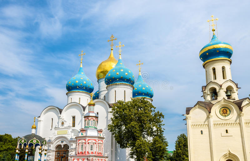 Church of the Holy Spirit and Assumption Cathedral at Troitse-Se stock image