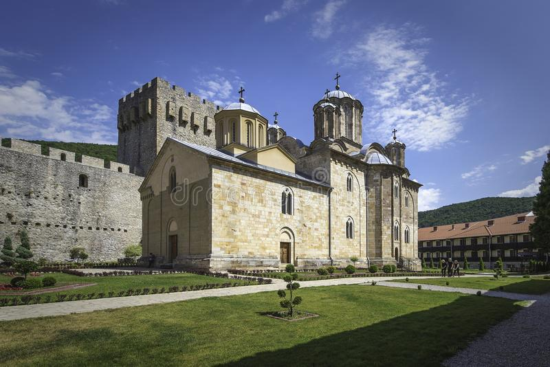 Church of Holy Trinity inside Monastery Manasija stock image