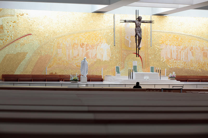 Church of the Holy Trinity. Interior of the new Church of the Holy Trinity in Fatima (Igreja da Santissima Trindade), Portugal stock image
