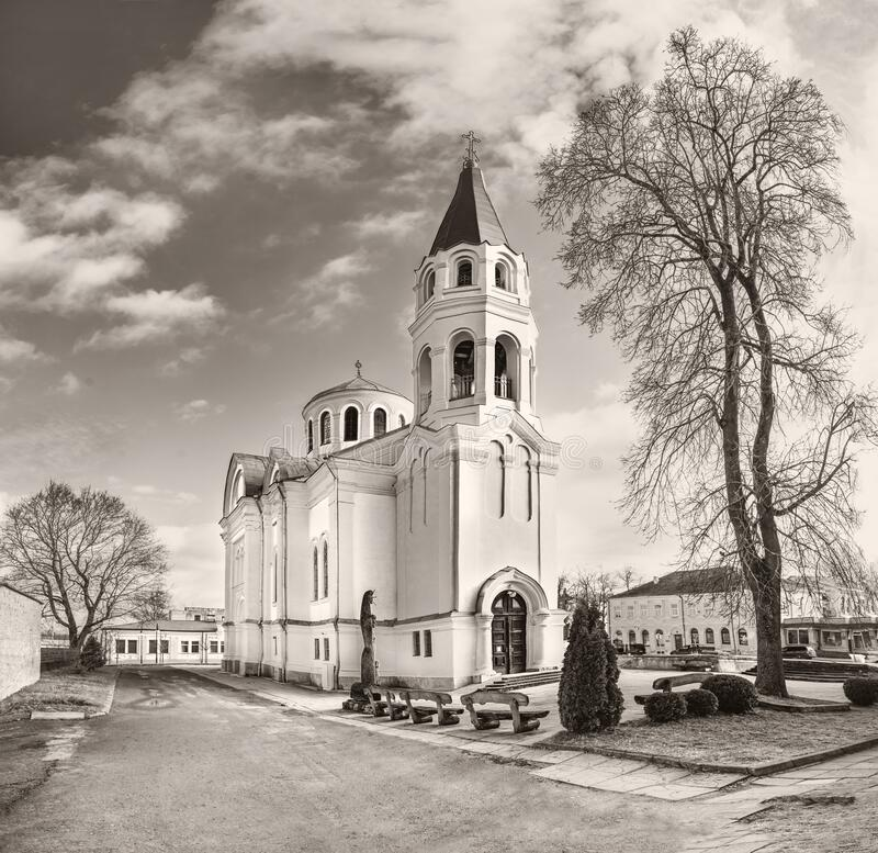 Church of Holy Trinity in Ukmerge. Lithuania. Black and white stock images