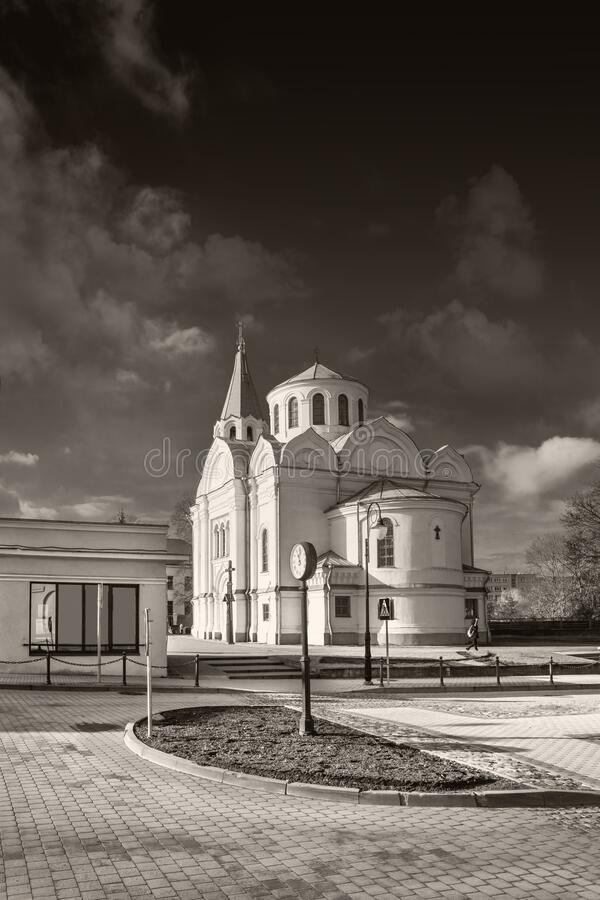 Church of Holy Trinity in Ukmerge. Lithuania. Black and white stock photos