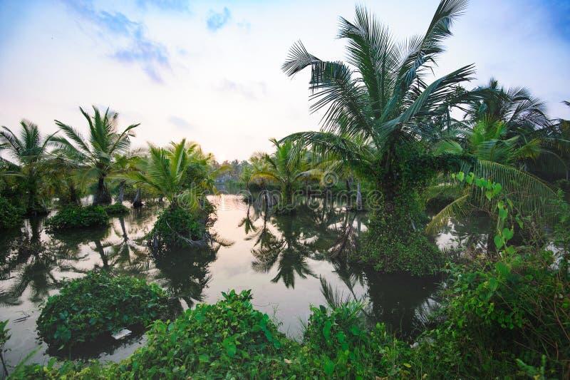 Church on horizon, Beach road from Mararikulam to Kochin. Kerala, state, India stock image