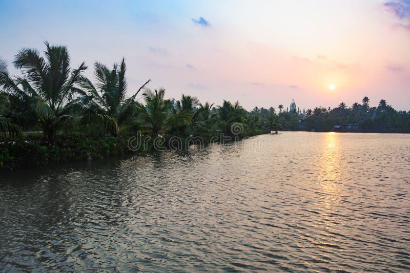 Church on horizon, Beach road from Mararikulam to Kochin. Kerala, state, India royalty free stock photo