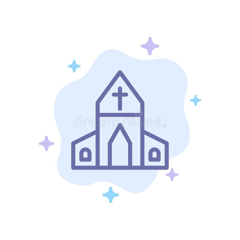 Free Church, House, Easter, Cross Blue Icon On Abstract Cloud Background Stock Photo - 148647870