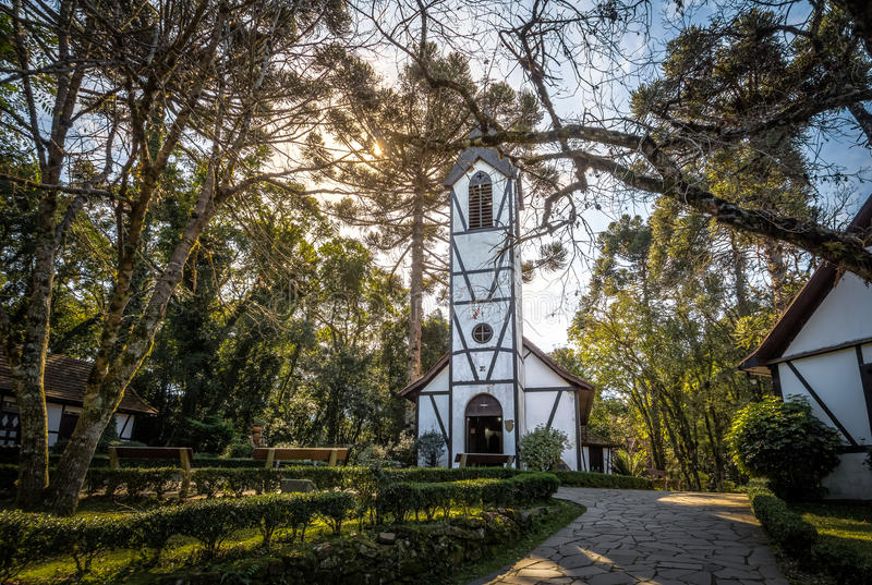 Church and houses at Immigrant Village Park & x28;Parque Aldeia do Imigrante& x29; - Nova Petropolis, Rio Grande do Sul, Brazil. German Fachwerk Style Church and stock photo