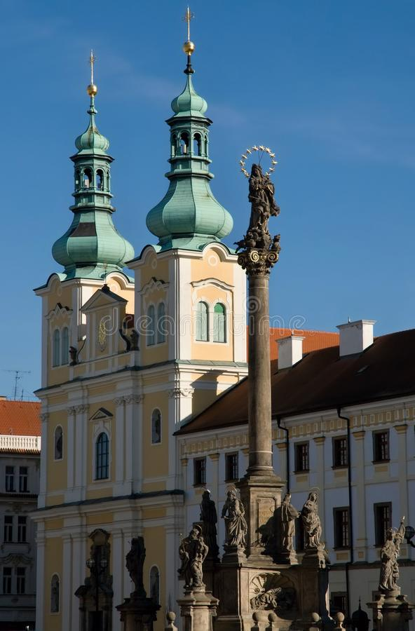 Church in Hradec Kralove, Czech republic. Church of the Assumption in the Great Square in town Hradec Kralove, Czech republic stock photography