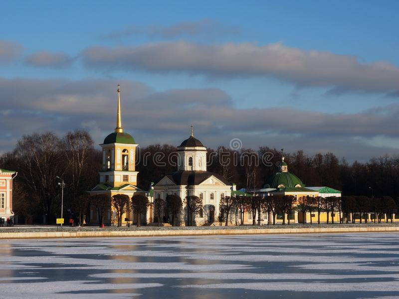 Church,ice and clouds.Frost. Мороз и солнце. royalty free stock photo
