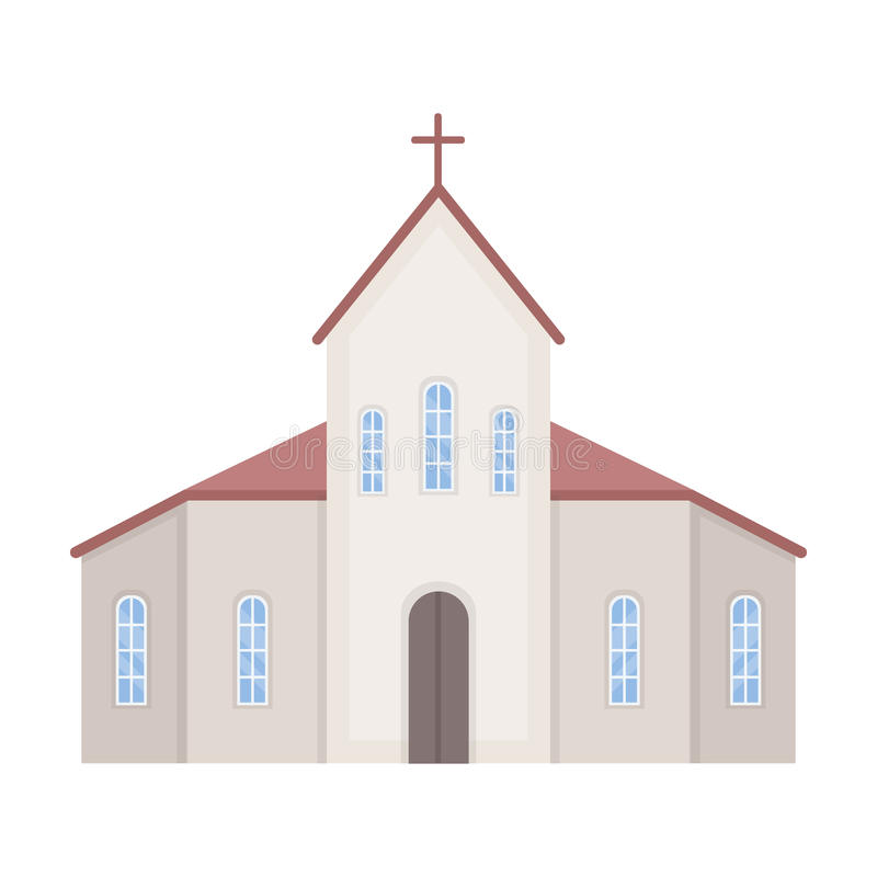 Church icon in cartoon style isolated on white background. Funeral ceremony symbol stock vector illustration. royalty free illustration