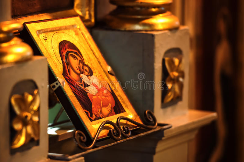 Church icon of Mother of God (Mary) and child (Jesus Christ) symbols of christianity stock photos