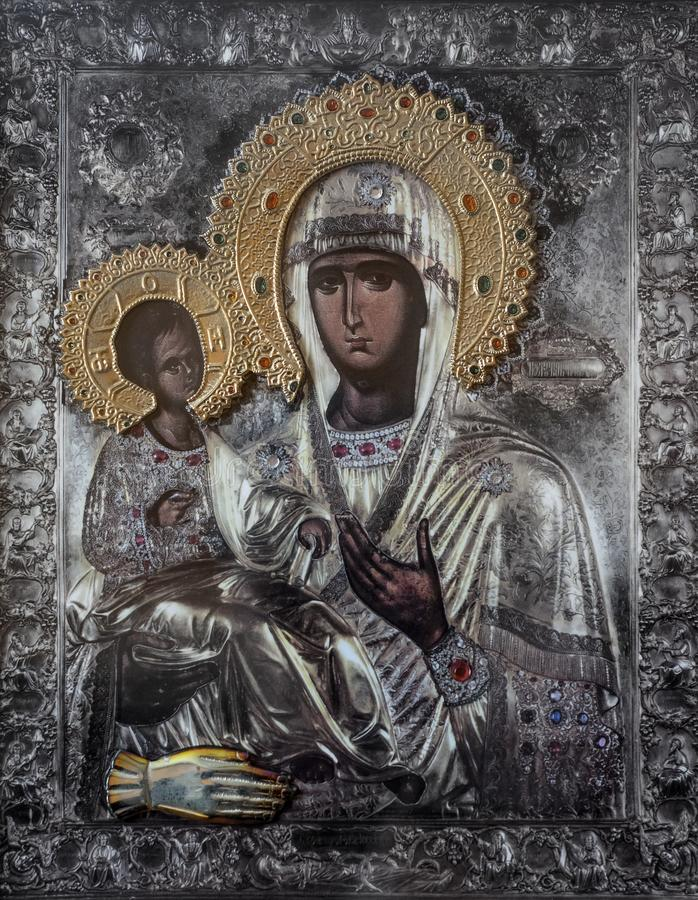 Church icon of Mother of God Mary and child Jesus Christ royalty free stock image